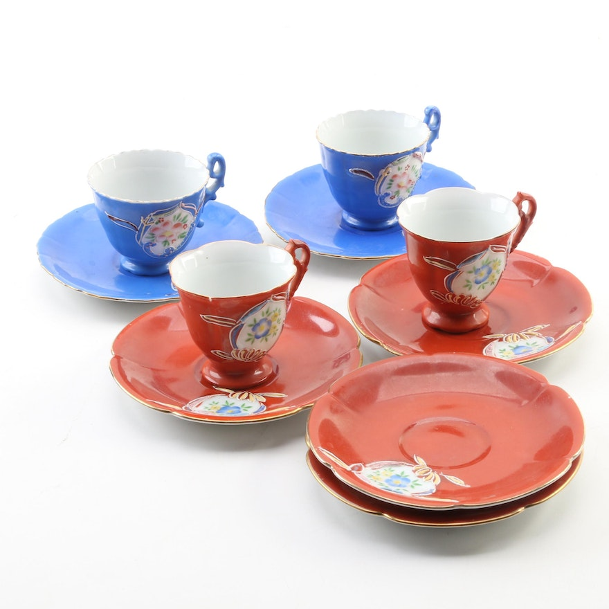 Japanese Hand-Painted Cups and Saucers, Mid-20th Century