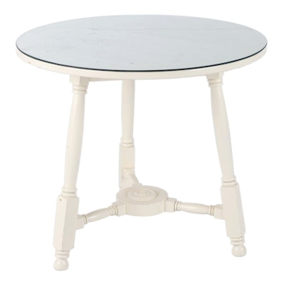 Contemporary Painted Wood Glass Top Center Table