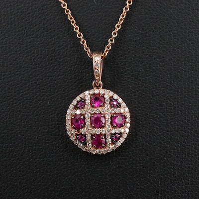 EFFY 14K Rose Gold Diamond and Ruby Necklace