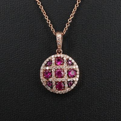 EFFY 14K Rose Gold Diamond and Ruby Necklace