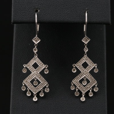 14K Gold Diamond Geometric Dangle Earrings
