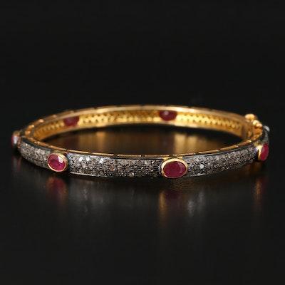 Sterling Silver Corundum and Pavé Diamond Hinged Bangle