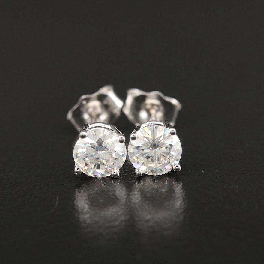 14K Gold Moissanite Stud Earrings