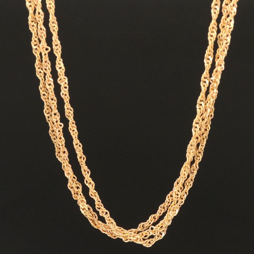 Milor 18K Triple-Strand Singapore Chain Necklace