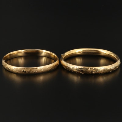 Bangle Braclets with Engraved and Florentine Designs