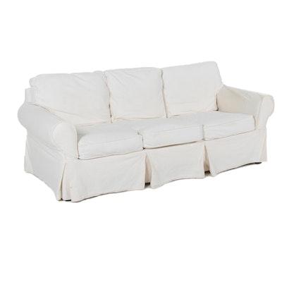 Pottery Barn White Canvas Slipcovered Sofa, 21st Century