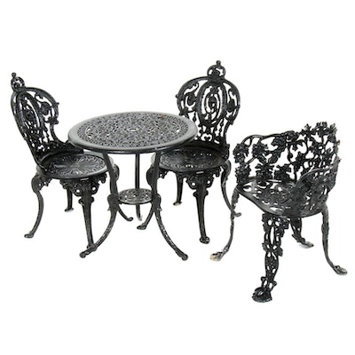 Cast Metal Foliate Openwork Garden Furniture, Late 20th Century
