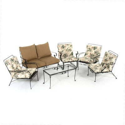 Metal Patio Loveseat and Chairs, Late 20th Century