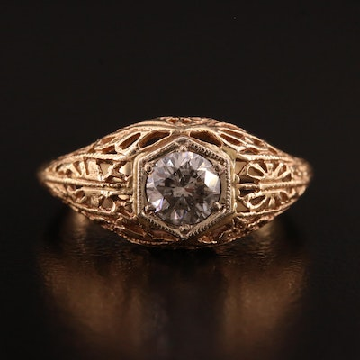 Edwardian Style 14K Diamond Openwork Ring
