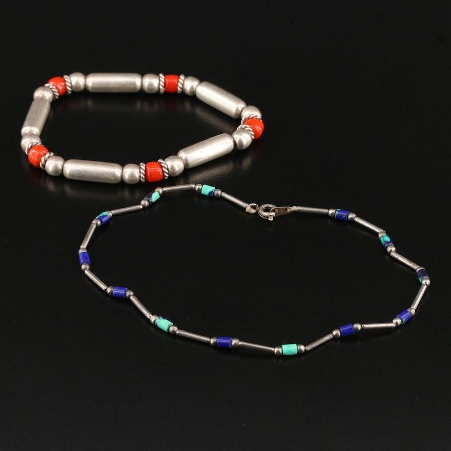 Western Style Beaded Bracelets Including Sterling Silver