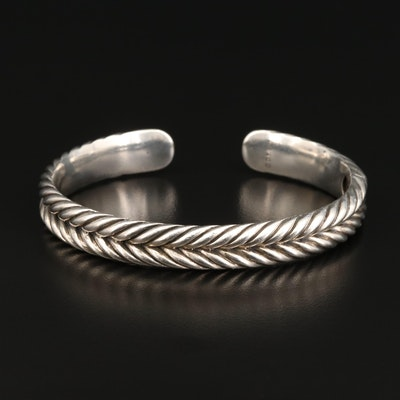 David Yurman Sterling Silver Chevron Motif Hinged Cuff