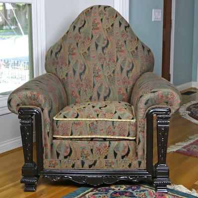 Carved Ebonized Wood Upholstered Armchair