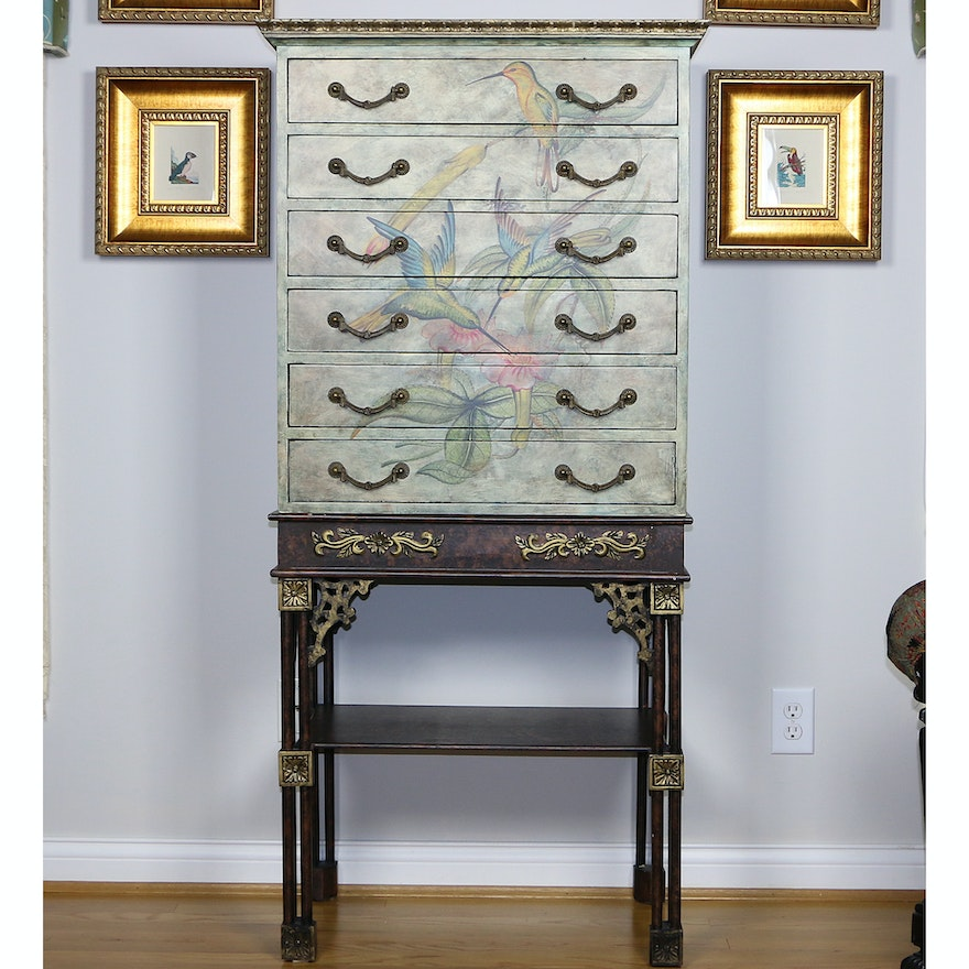 Paint-Decorated Hummingbird Motif Chest of Drawers on Stand