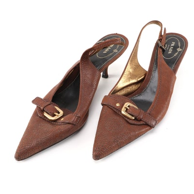 Prada Stitched Brown Leather Pointed Toe Slingbacks with Buckle Strap