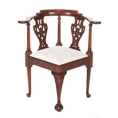 Henkel-Harris Mahogany Corner Chair, 20th Century