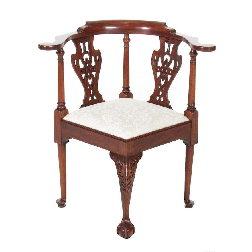 Henkel-Harris Mahogany Corner Chair, 20th Century