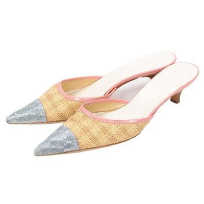 Prada Woven Raffia, Pink Leather and Grey Alligator Skin Kitten Heel Mules