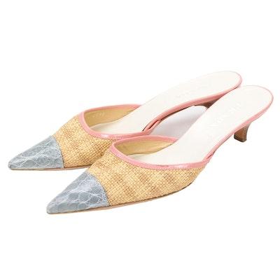 Prada Woven Raffia, Pink Leather and Grey Alligator Skin Kitten Heel Mules