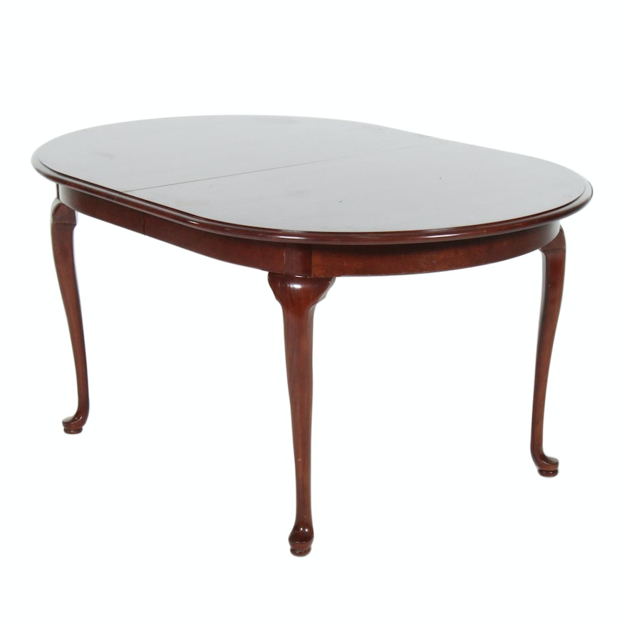 Queen Anne Style Cherry Dining Table, Late 20th Century