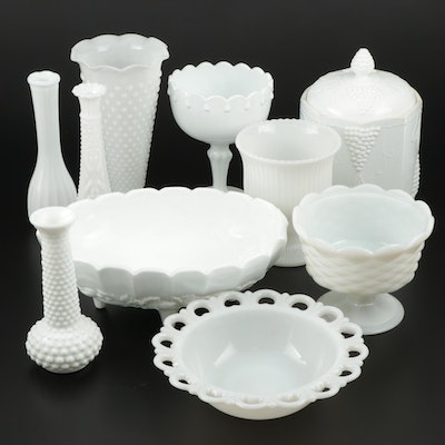 E.O. Brody Co. and Other Milk Glass Vases, Compotes, and More, Mid-20th Century