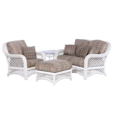 Painted Woven Wicker Patio Seating Group, Late 20th Century