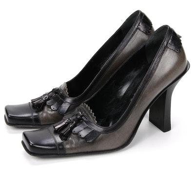 Prada Square-Toe Tassel Pumps in Grey and Black Leather