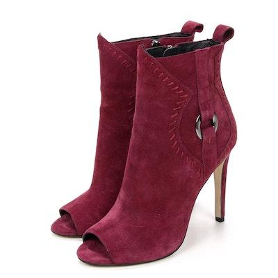 Rebecca Minkoff Ridley Peep-Toe High Heel Booties in Maroon Suede