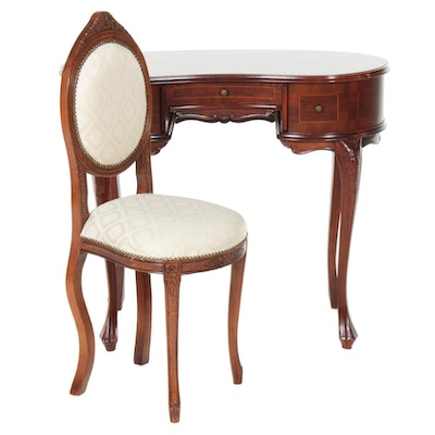 Queen Anne Style Cherry Vanity Table with Chair, Late 20th Century