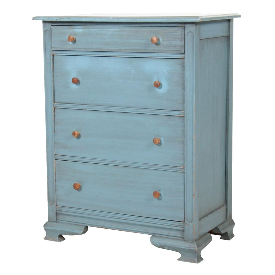 Farmhouse Style Teal Painted Chest of Drawers, Mid to Late 20th Century