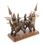 Thai Carved Wood Suphanburi Army Elephant Warriors Statue