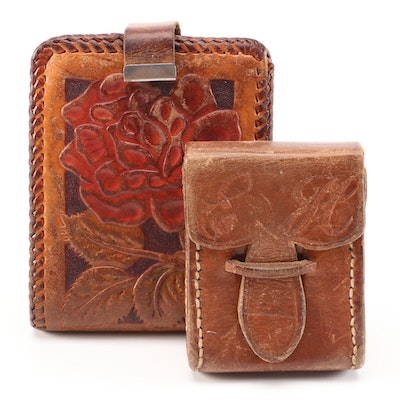 Hand Tooled Wallet and Monogrammed Leather Case, 1970s Vintage