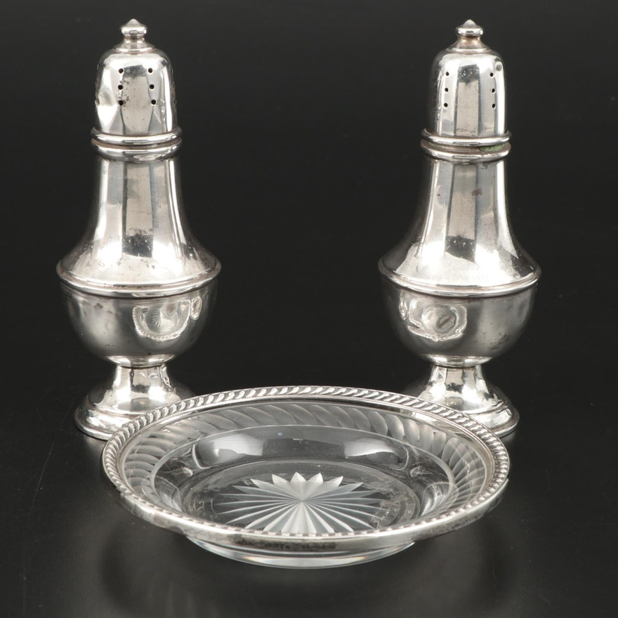 Newburyport Silver Co. Sterling Silver Shakers and Other Sterling Rimmed Dish