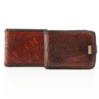 Hand Tooled and Monogrammed Leather Wallets, 1970s Vintage