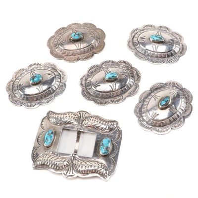 Southwestern Sterling Silver Turquoise Concho Buckle and Slides