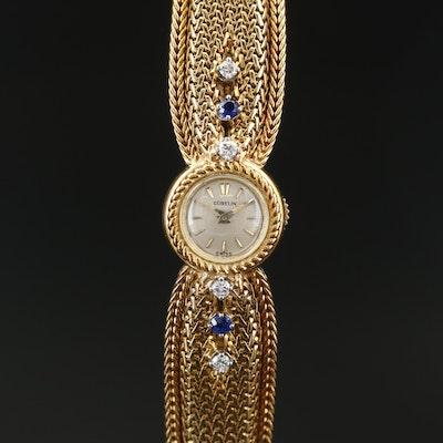 18K Gübelin Backwind Diamond and Sapphire Wristwatch