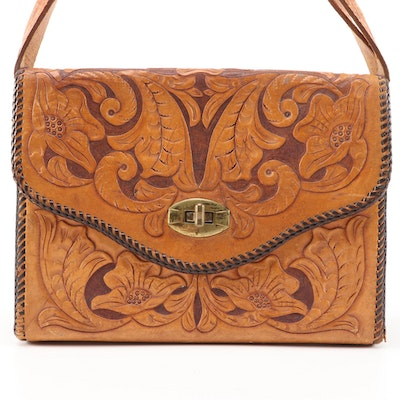 Hand Tooled Leather Flap Front Handbag, 1970s Vintage