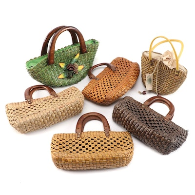 Six Handcrafted Rattan Handbags
