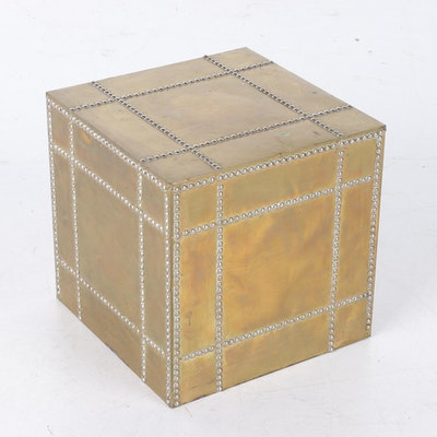 Brass-Clad Cube Side Table, Mid to Late 20th Century