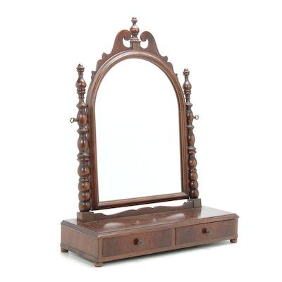 Federal Style Burl Wood Tabletop Vanity Mirror, Mid 20th Century