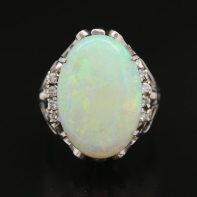 Platinum 9.30 CT Opal and Diamond Ring