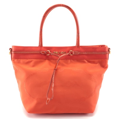 Prada Orange Large Print Logo Tessuto Canvas and Patent Leather Tote