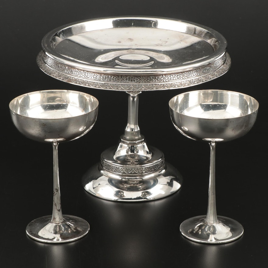 Aurora Silver Plate Centerpiece Compote and Italian Champagne Coupes