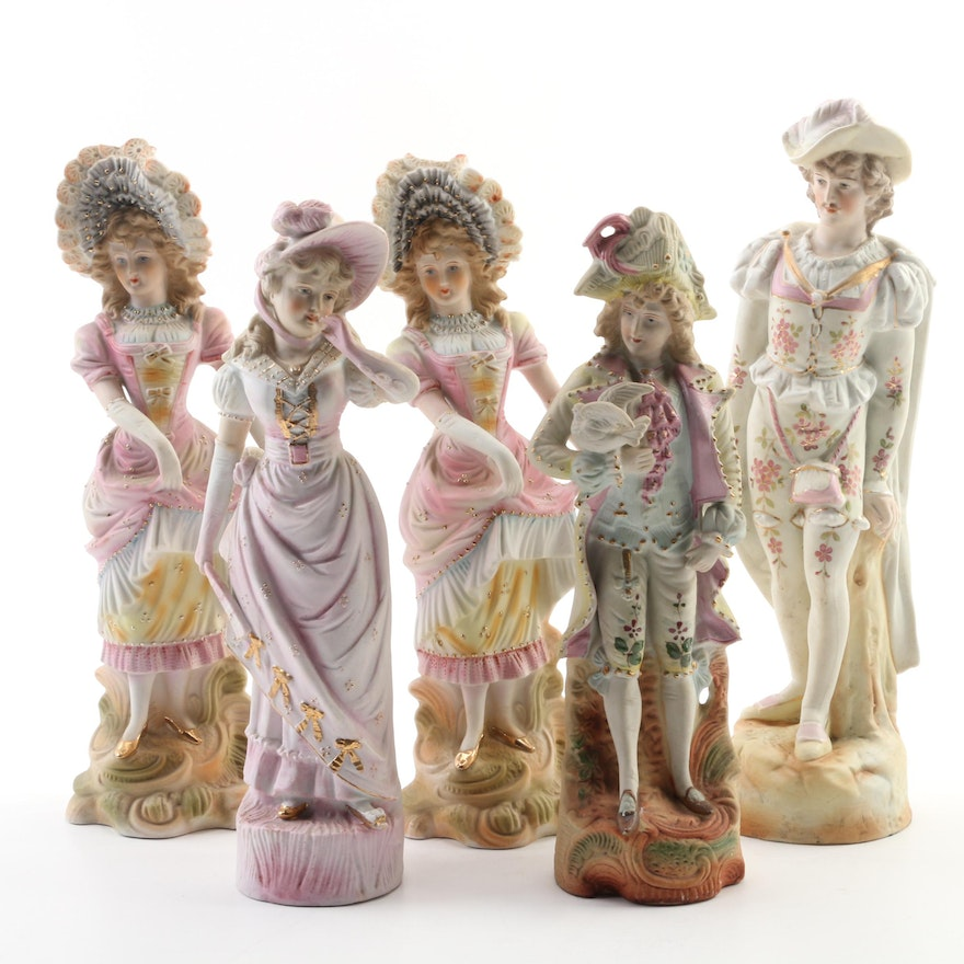 """Painted Bisque Porcelain """"Paulux"""" and Other Victorian Figurines, Mid-20th C."""