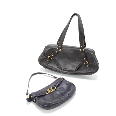 Coach and Cole Haan Shoulder Bags in Black Grained Leather