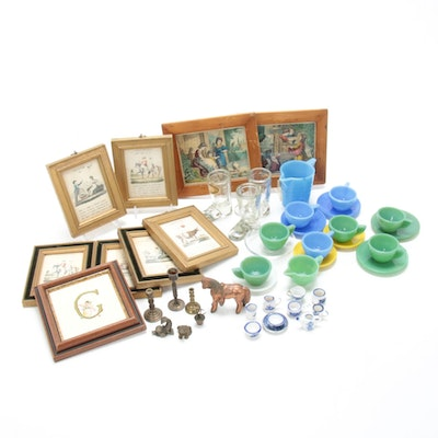 Miniature Tea Service, Lithograph Prints and Other Miniatures