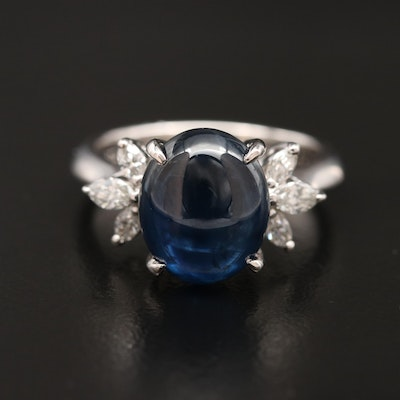 Platinum 7.09 CT Sapphire and Diamond Ring