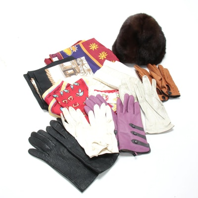 Mink Fur Hat, Leather Hand Gloves and Silk and Other Scarves