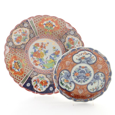Chinese Floral and Gilt Porcelain Plates