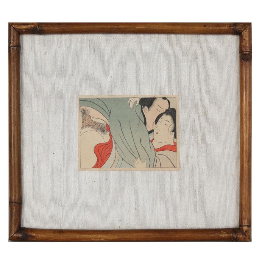 Japanese Shunga Ukiyo-e Woodblock Print, Early 20th Century