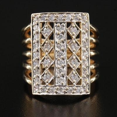 14K Cubic Zirconia Pointer Ring